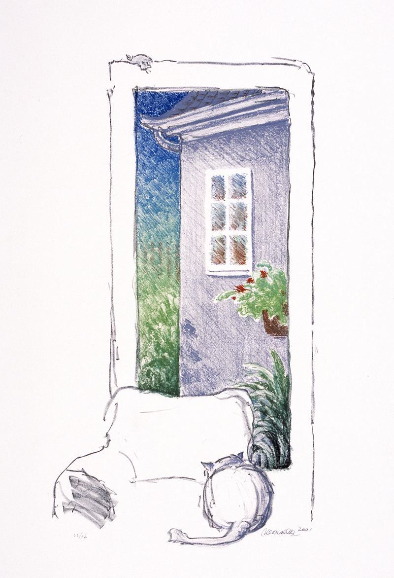 Cat at a Window Lithograph  |  xx""