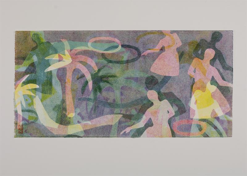 "Hula Tango Series Monotype | 16x8"""