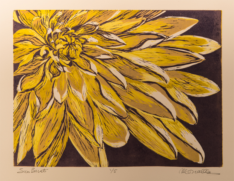 "Sunburst Reduction Linocut | xx"""