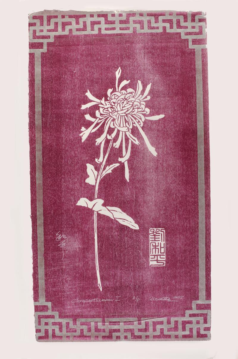 "Chrysanthemum with Border Woodcut | 23x43"""