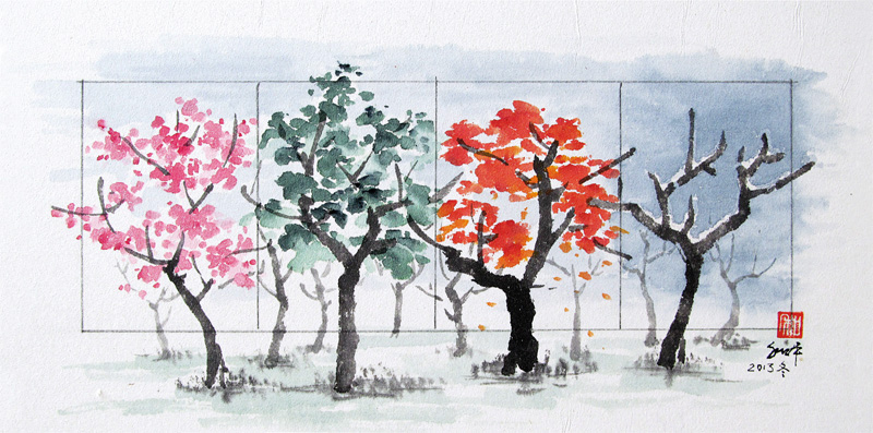 """Four Seasons Ink on paper 