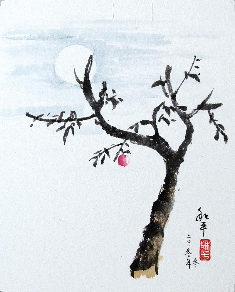 "Apple Tree Moon Ink on paper | x"""