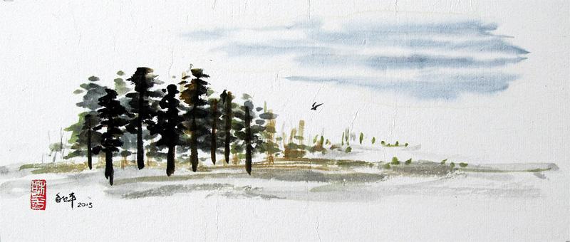 "Trees Bird Sky Ink on paper | x"""