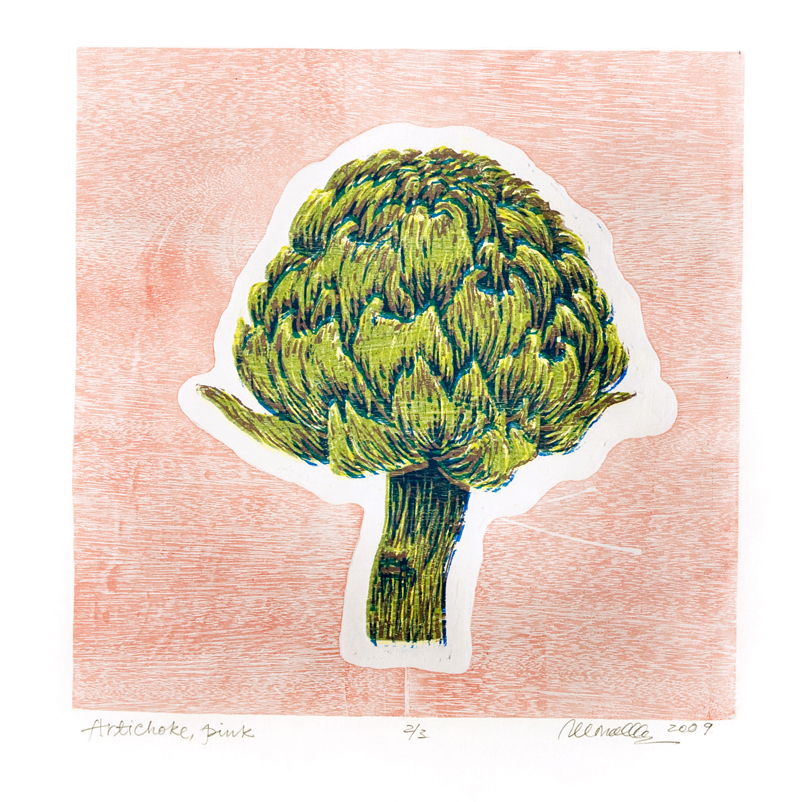"Artichoke Reduction Woodcut | 12x12"""