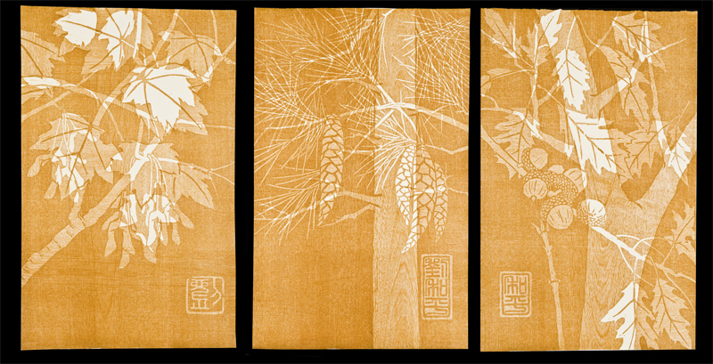 Triptych of Trees Woodcut  |  16x25""