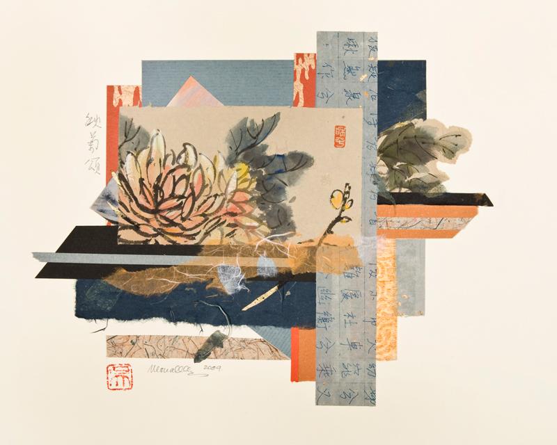 "Ode to Chrysanthemum II Collage   15.5x12"""