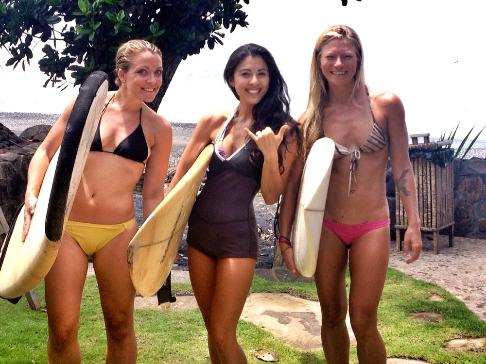 Little time to surf, but so much fun padding out with my girls, Laura & Lisa.
