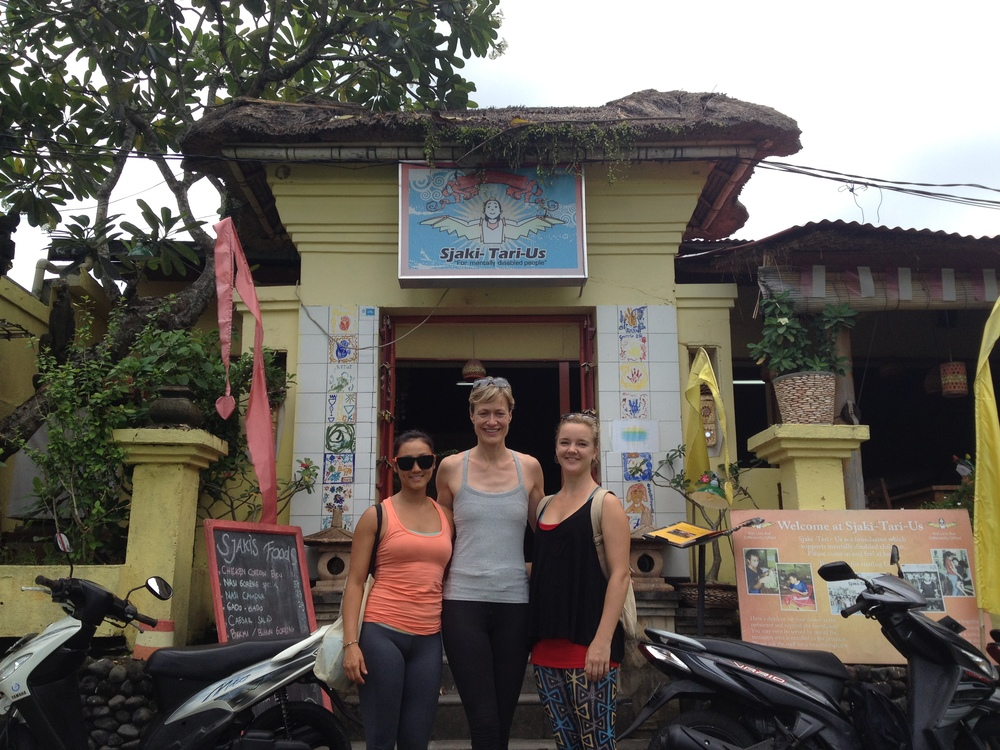 Tiffany, Claudia, and Libby after a fun yoga session with the Sjaki-Tari-Us children.