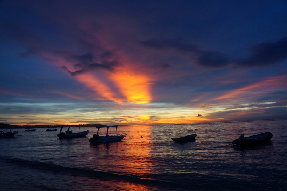A beautiful sunset in Nusa Lembongan, an island just off the east coast of Southern Bali.