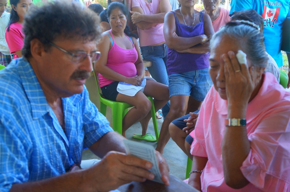 Over 65 patients were given eye exams, new prescription glasses, antibiotic drops, and instructions on proper eye care.
