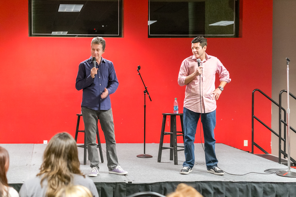 Scott Blakeman and Dean Obeidallah at Florida Atlantic University.