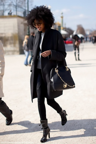 Standing out in a sleek, all black ensemble