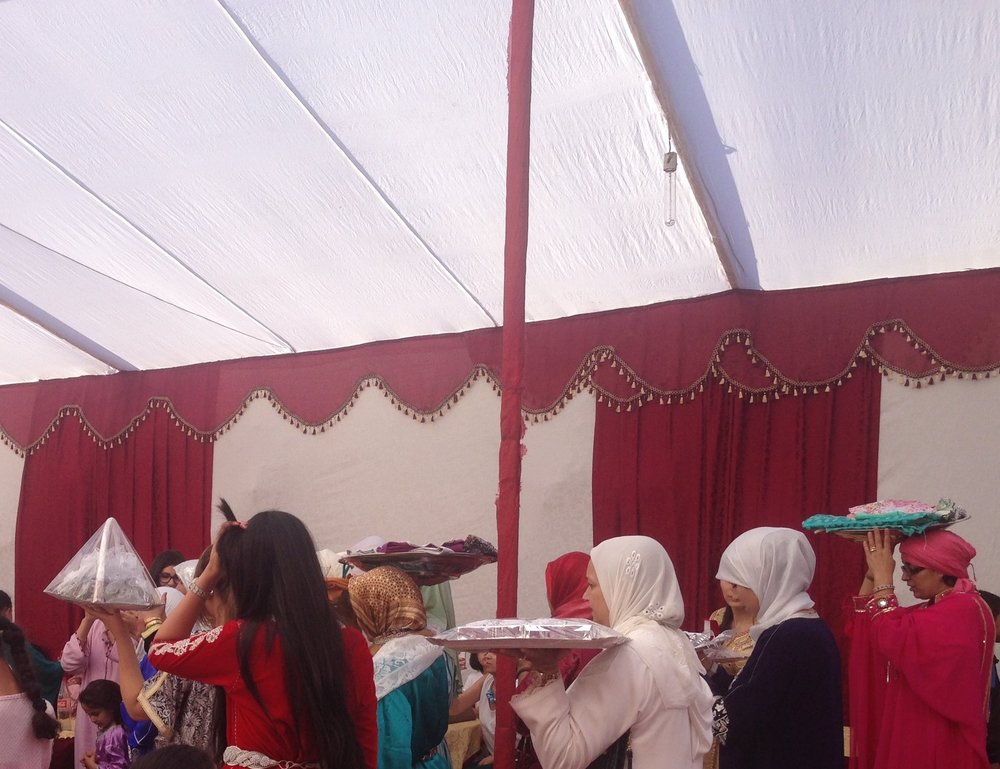 Preparing for the bride's henna