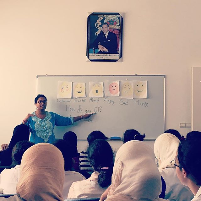 How do you feel? I feel excited to be teaching some young ladies how to embrace emojis. #eustadaKhadija #pcmorocco #letgirlslearn #englishasa4thlanguage
