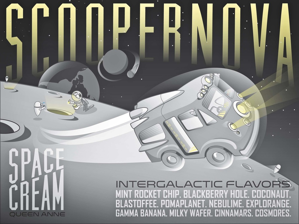 If you scream for ice cream, blast off to  Scoopernova , the intergalactic ice cream truck of the future, inspired by  WALL-E.  There's a stellar artisan flavor for every cadet.