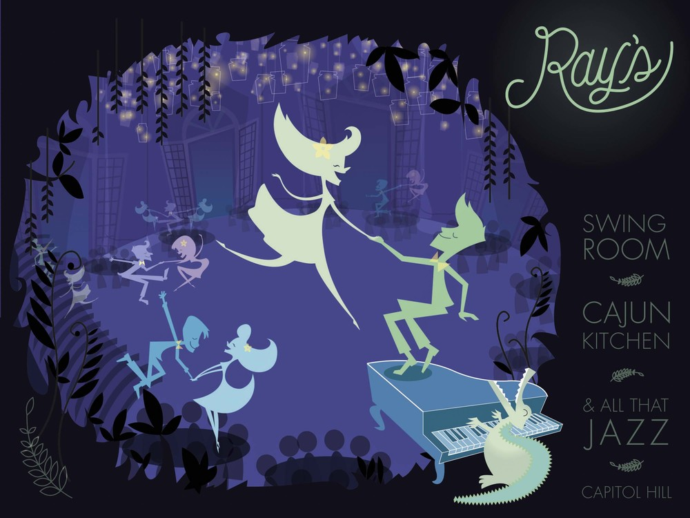 Swing on over to  Ray's  for an evening of jazz, gumbo, and sweet beignets, inspired by  The Princess and the Frog . Dine and dance beneath a canopy of twinkling fireflies, and waltz your honey into a stupor surrounded by magic that money can't bayou.