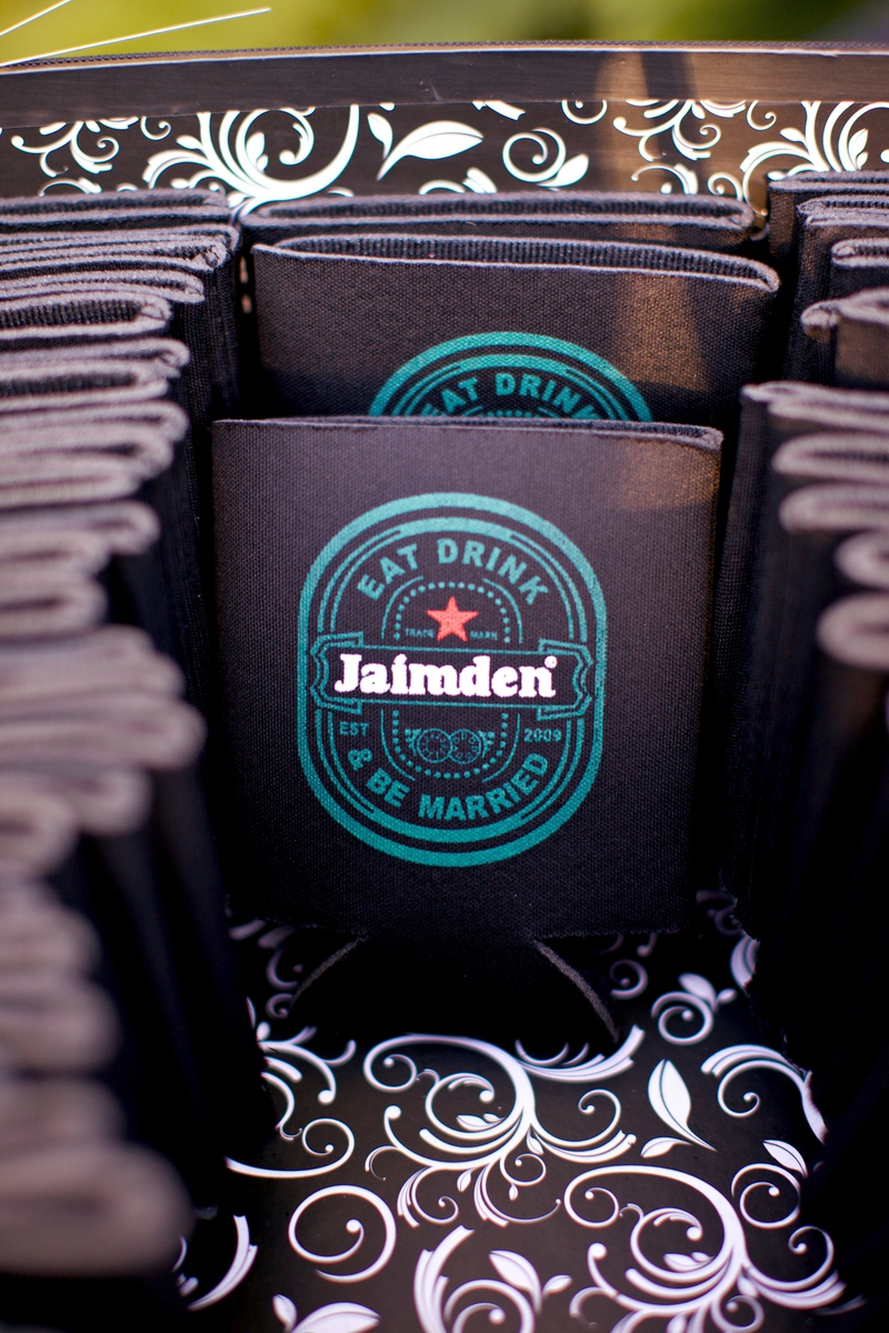 JaimDen Koozies~a nod to the couple's nickname and the groom's favorite beer