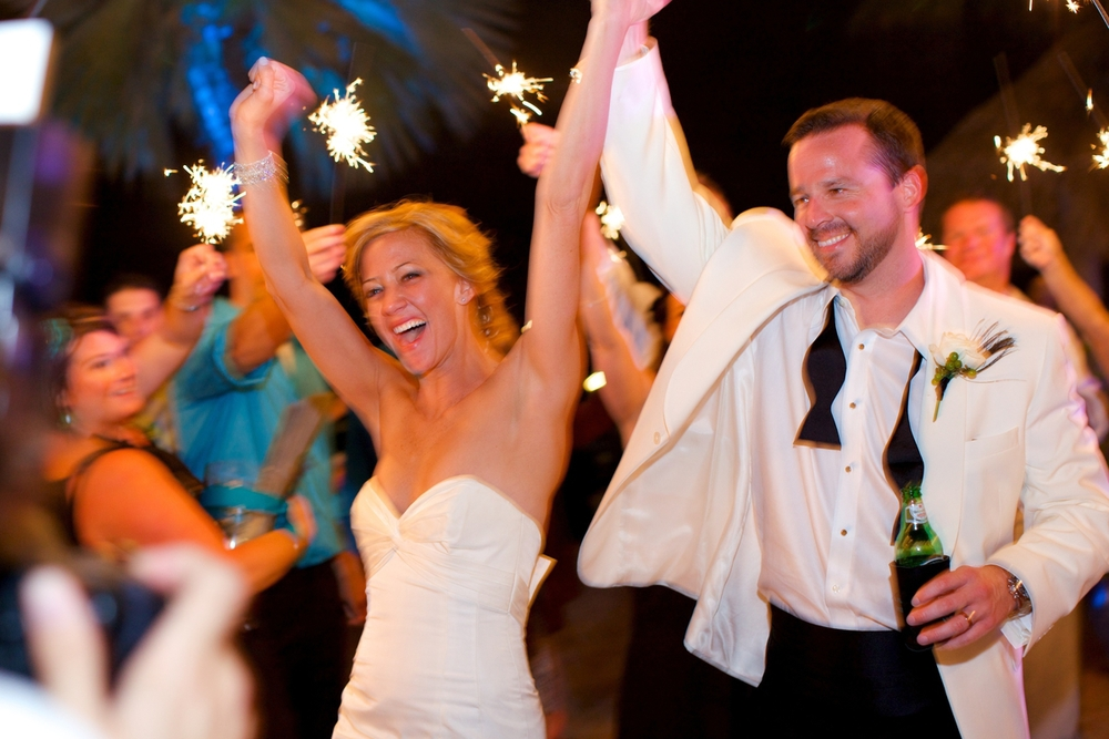 Following the dancing and desserts, guests sent the couple off in style with sparkler send-off.