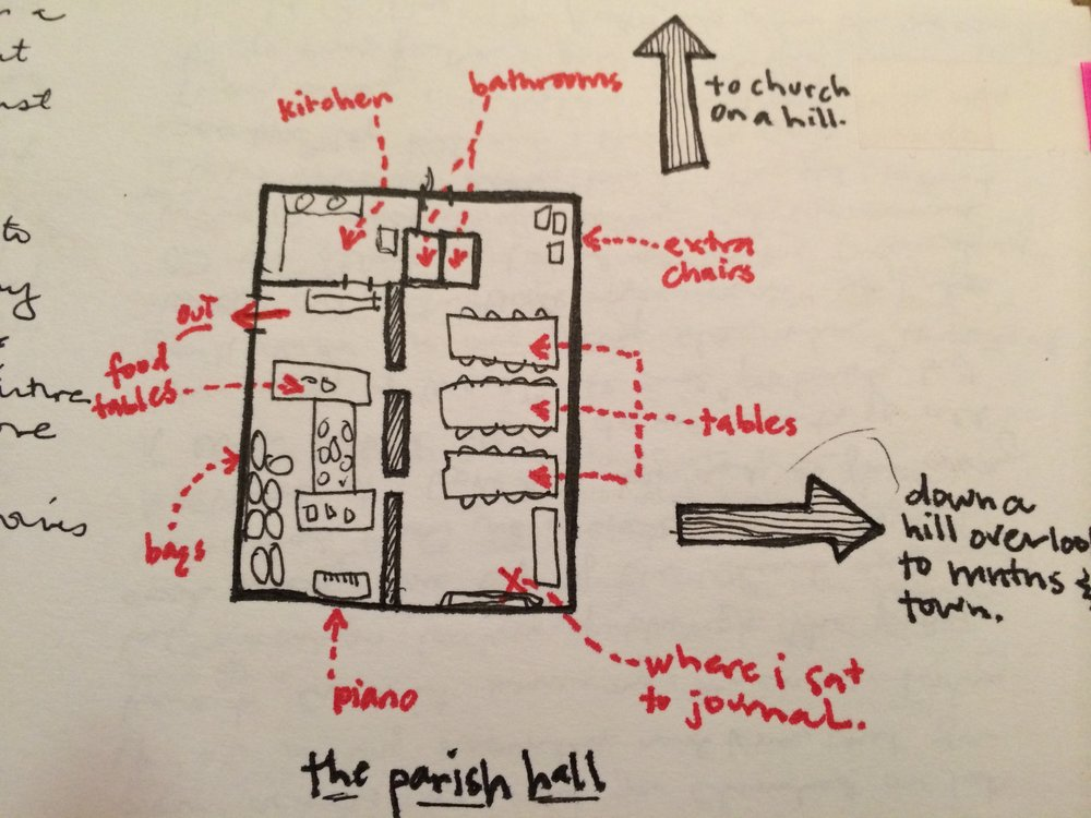 A diagram of one of the churches we stayed at along the way