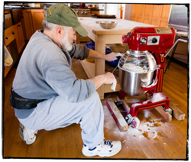 and through the kneading machine