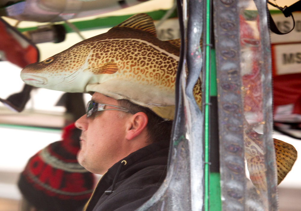 Duck boat driver's fish hat.