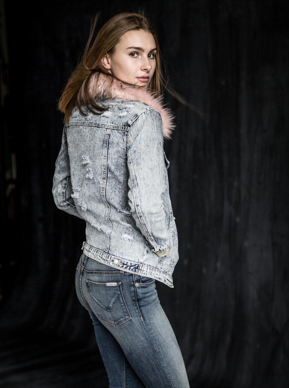Andrea in denim. Jacket: Honey Punch  Jeans: Hudson
