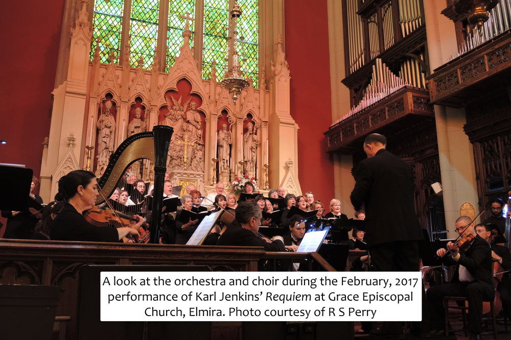 "A look at the orchestra and choirs during the February, 2017 upstate New York premier of ""Cantata Memoria: For the children of aberfan"" at Grace Episcopal Church, Elmira. Photo courtesy of R S Perry"