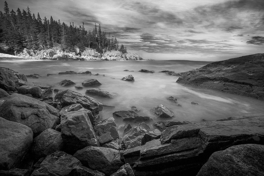 Otter Cove in Acadia National Park. As the tides change you begin to see what Maine really is, rocks. Low tide reveal 50 yards of rocks and kelp.