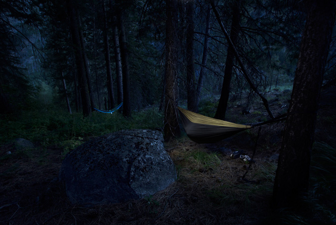 Our hammock set at night up on the mountain.