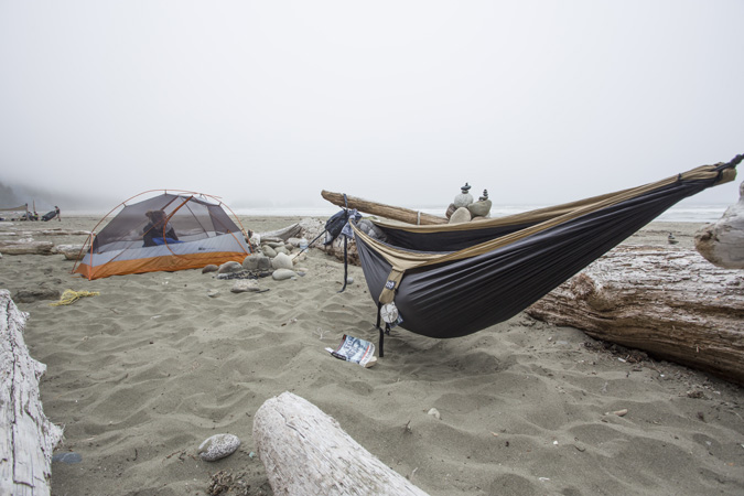 Caleb and I built this hammock spot out of the drift wood on Shi Shi Beach, by far the best campground of the summer.