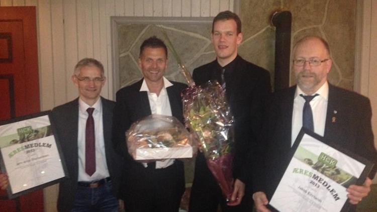 Fra Jubileumsfesten Til Harstad Cykleklubb, januar 2014.  Fra venstre Jørn Thorvaldsen, Ronny F. Hansen, Stian Evensen og Jakob Eitrheim