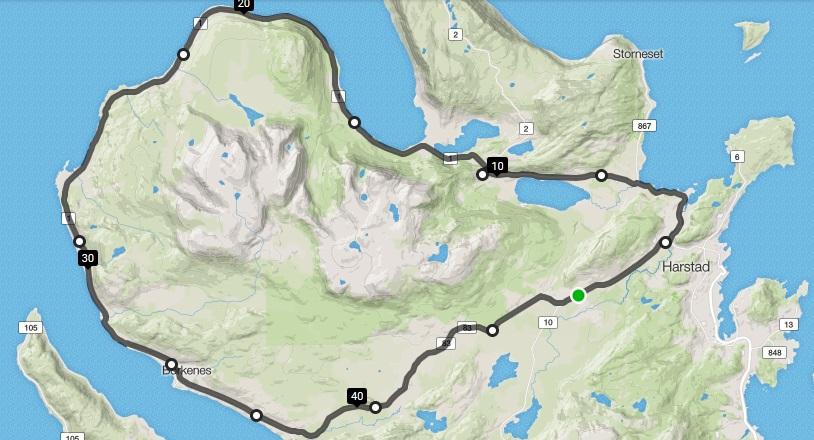 Start og mål i busslomma ved Åsegarden leir. K 15-16 og trimklassene starter sammen med turrittet lang løype kl 13:00. Det kjøres masterstart , til etter Bergsengrundkjøringa, og løypen går videre over Høgda og ned i Kasfjorden, forbi Nupen og videre mot Borkenes rundt Kvæfjorden. I Gårakrysset går løypen for K 15-16 og trimklassene opp bakkene mot Kvæfjordeidet og videre mot Åsegarden leir for målgang.