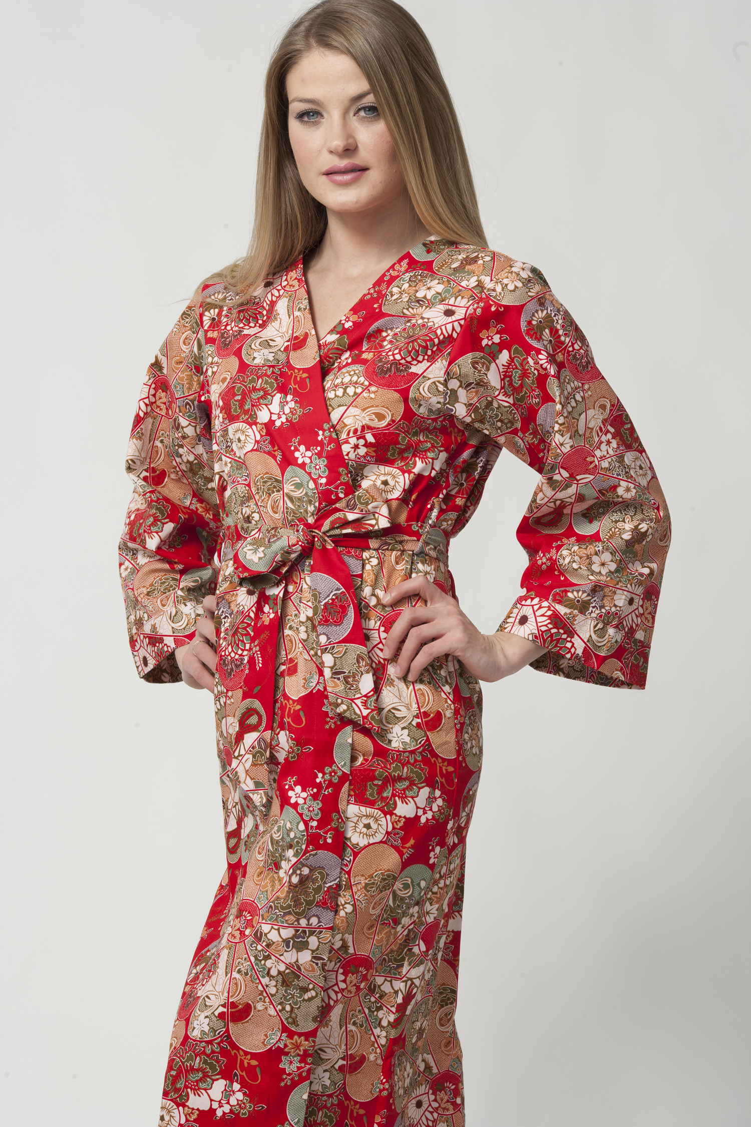 Women s Long Printed Red Cotton Robe with Kimono Collar-Song ... 2a7f4230b