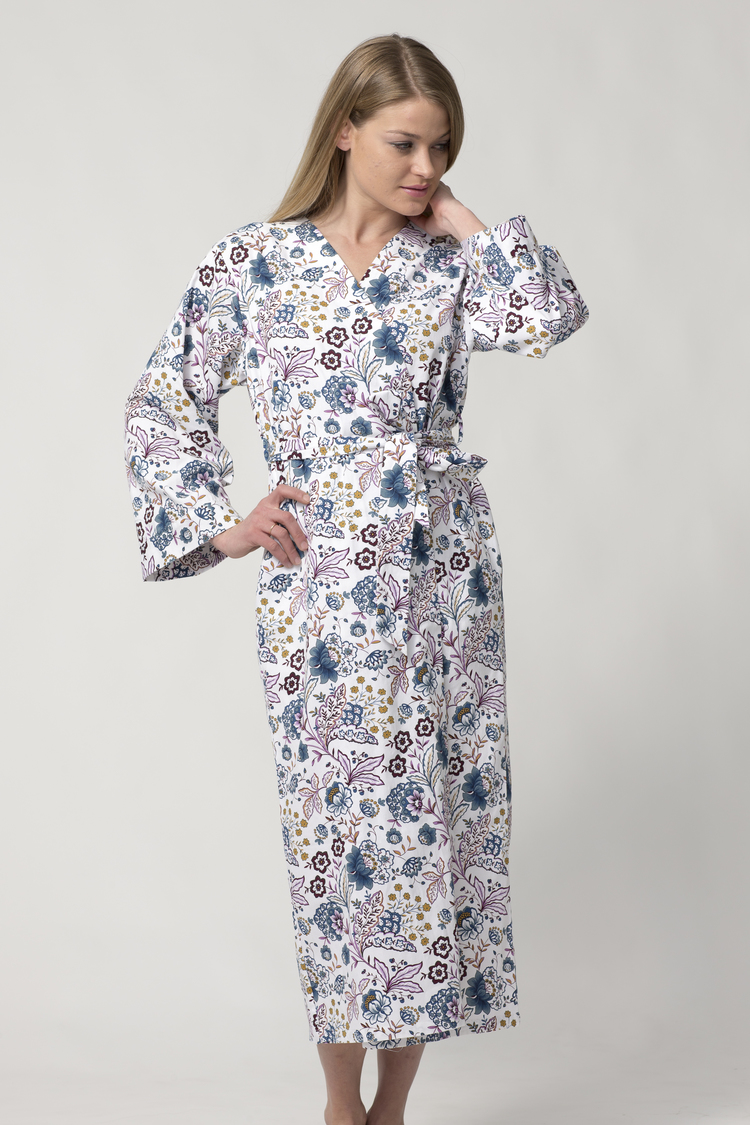 Women s Long Printed Cotton Robe with Kimono Collar-Poetic Charm ... 36490219f