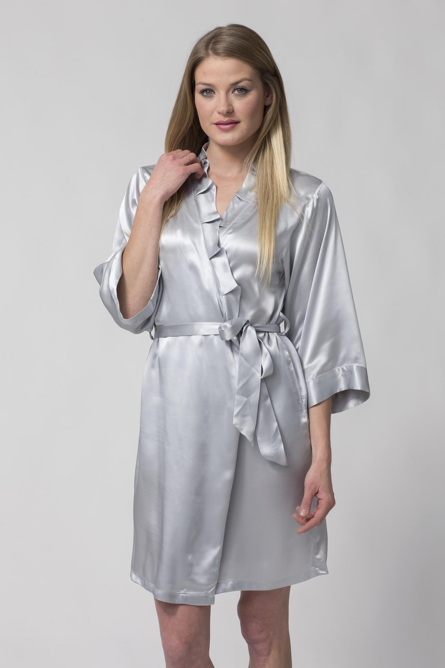 Women\'s Short Silk Robe with Ruffled Collar-Festival Season-Silver ...