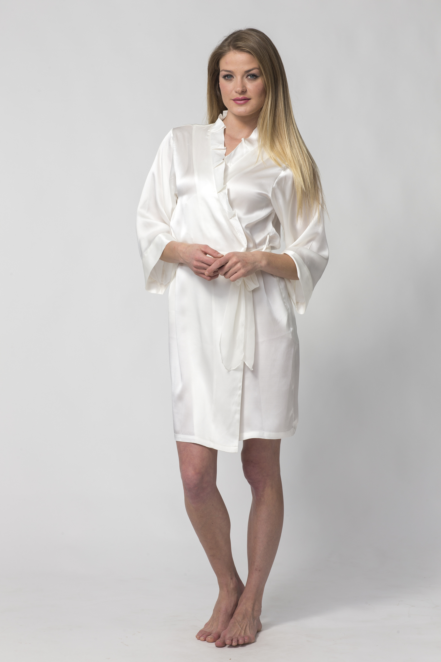 a81583c3d8 Women s Short White Silk Robe with Ruffled Collar-Silk Charmeuse — Dynasty  Robes