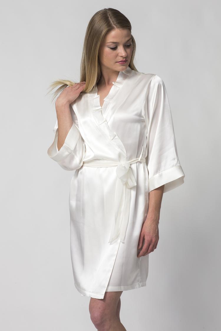 f657e45ebc48 Women s Short White Silk Robe with Ruffled Collar-Silk Charmeuse ...