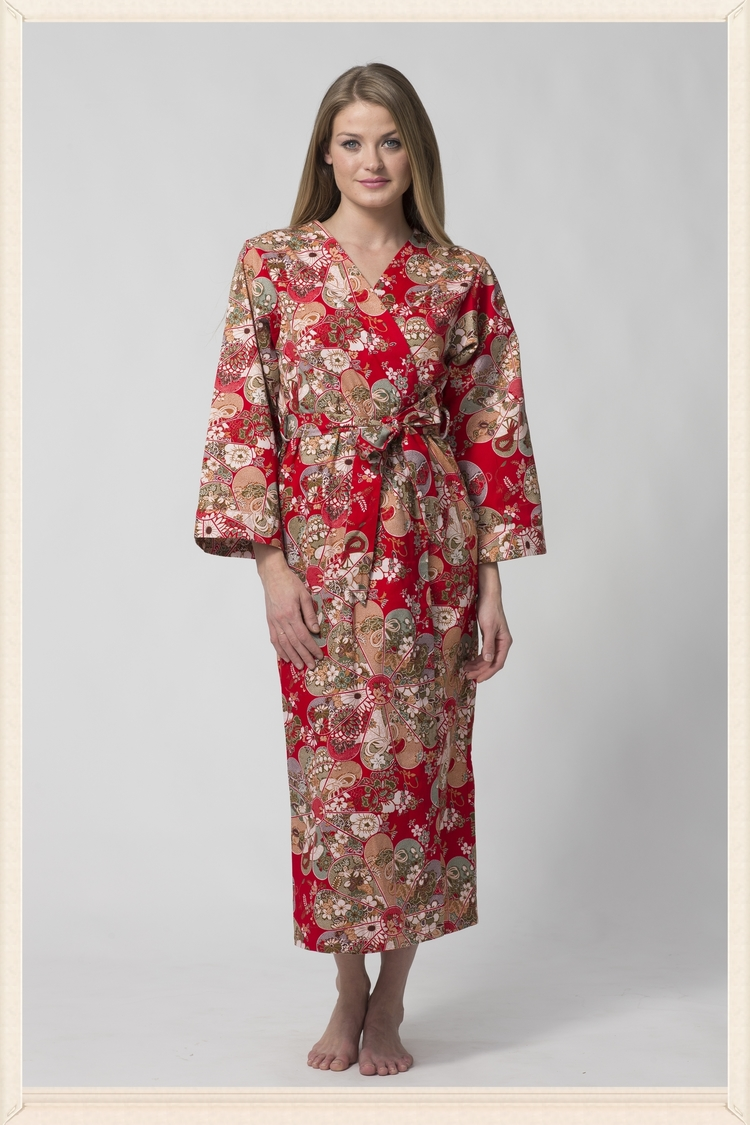 Women s Long Printed Red Cotton Robe with Kimono Collar-Song.  OEP2519.jpg ad50d909a
