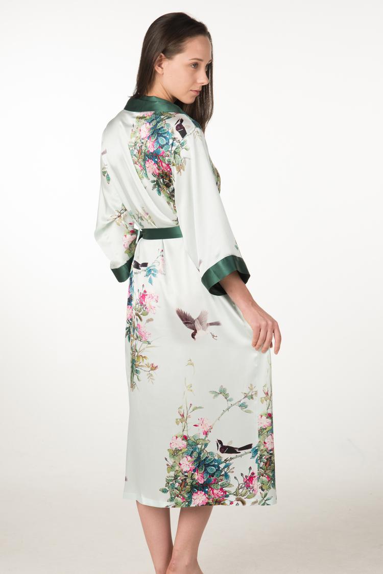 c12476dfb9 Women s Long Silk Robe wrap with Shawl Collar - Shangri-La — Dynasty ...