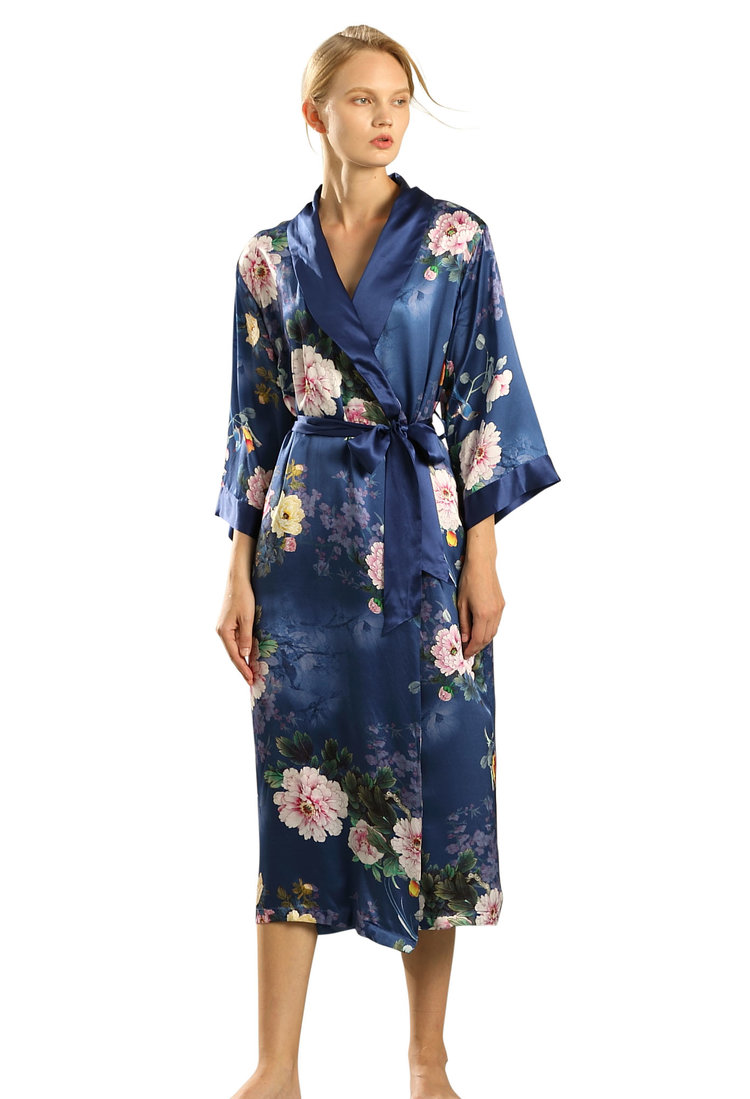 Women s Long Silk Robe wrap with Shawl Collar - Lingering Garden c3804ca10