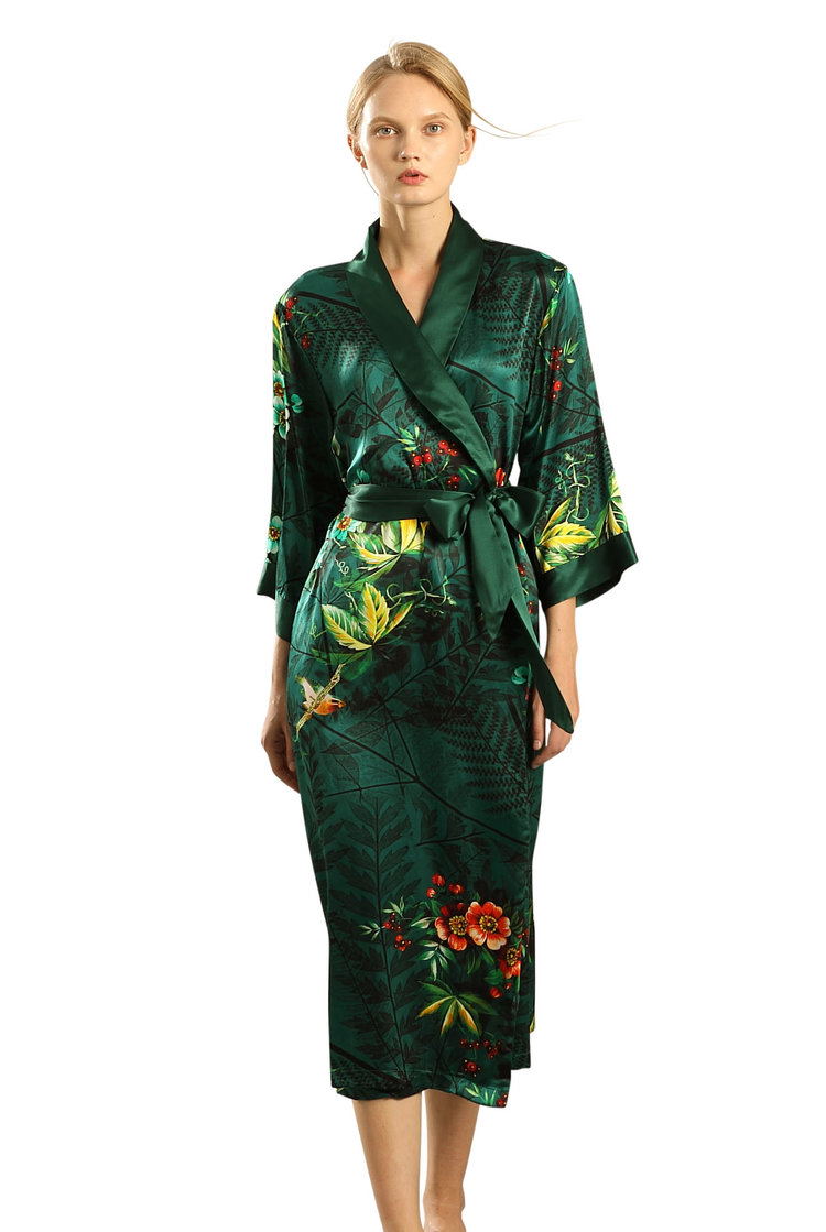 12b465ed1f89 Women s Long Silk Robe wrap with Shawl Collar -Dazzling Bloom