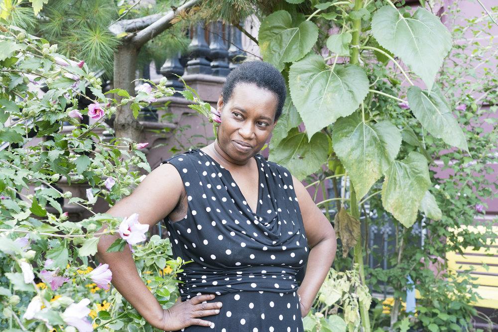 Ketsia in her garden, Brooklyn, NY, 2017.
