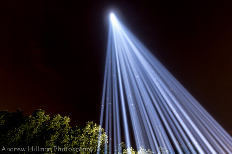 Pillar of Light 15 miles high - Westminster - Commemorates 100 years since Britain entered the First World War - Reference UK12