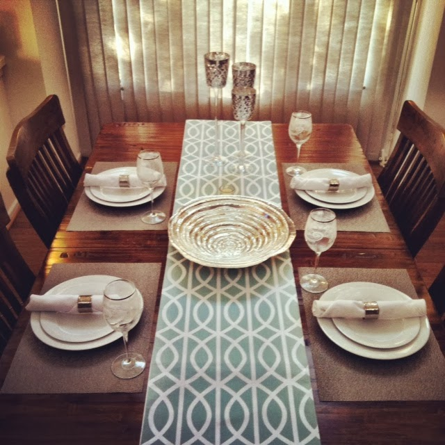 Simplistic white plates with white cloth napkins silver napkin rings silver placemats silver-rimmed lacey wine glasses silver bowl and tall silver ... & An All Season Table Setting: Teal \u0026 Silver \u2014 Jess Milby