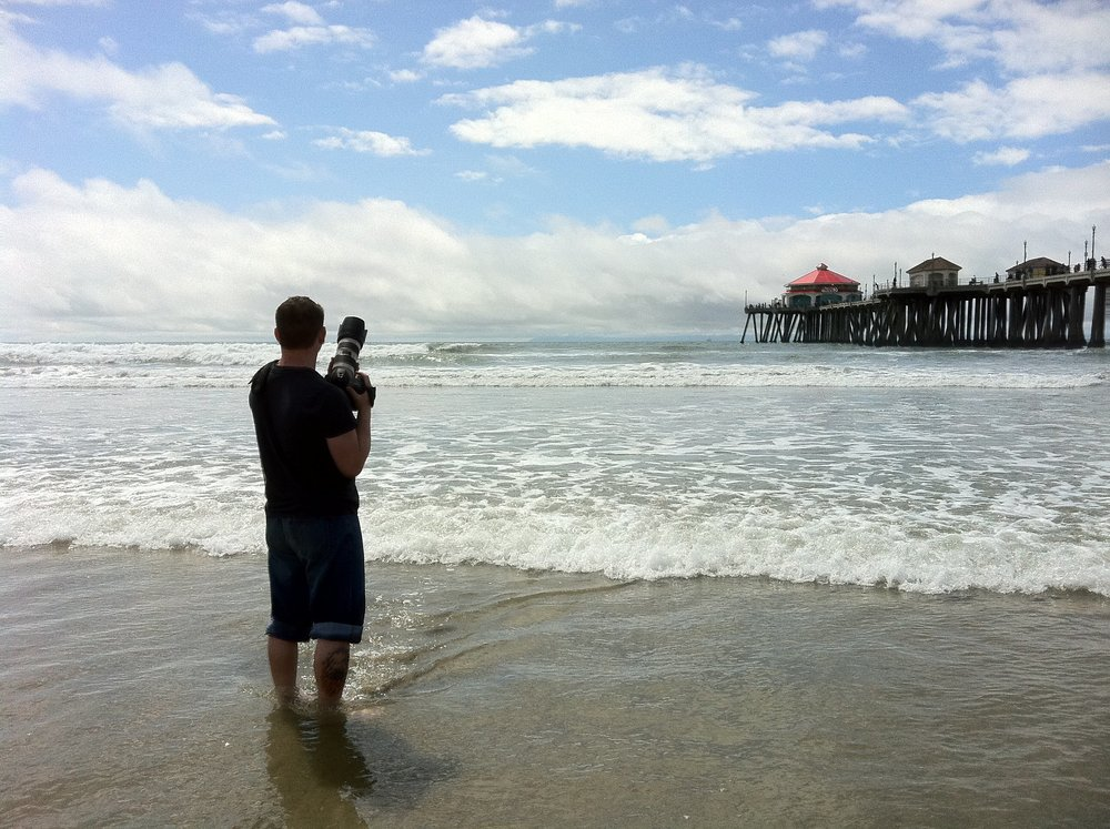 Jeb shooting the Huntington Beach Surf Championships.