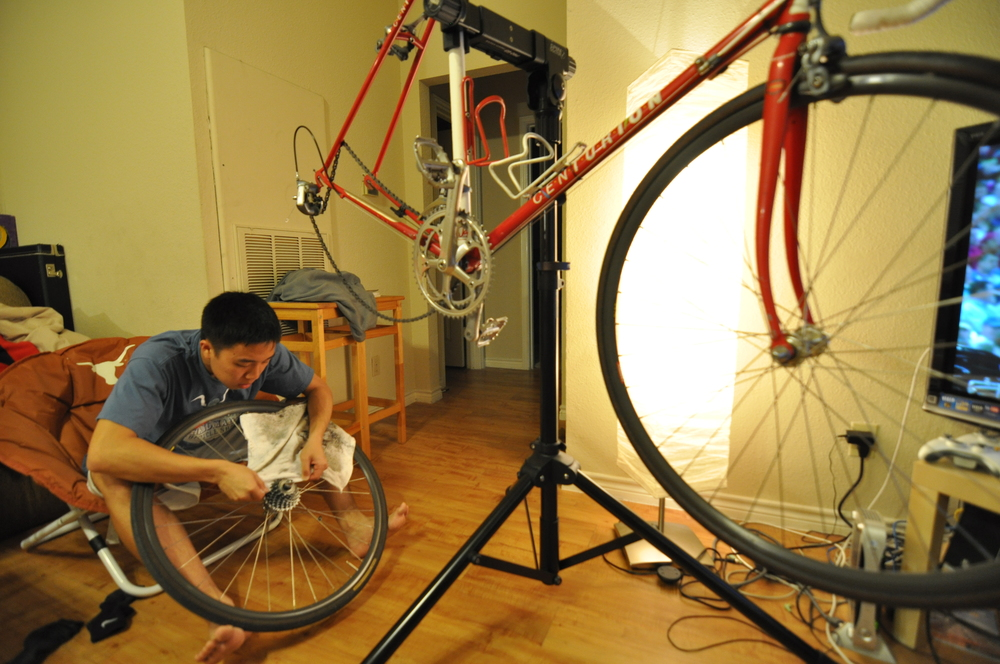 Initially as a way to get around campus, biking became a passion for Allen Kuo. As a daily routine before going out to train for the MS150, Allen cleans his bike, a 1987 Centurion Ironman Expert that is one year older than he is.