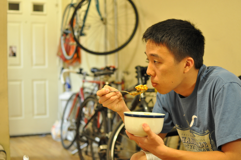 His daily diet becomes an important factor as he trains, especially in the week before the ride, and consists of home cooked pasta with ground beef and cheese at least once a day to provide energy as he rides from Houston to Austin.