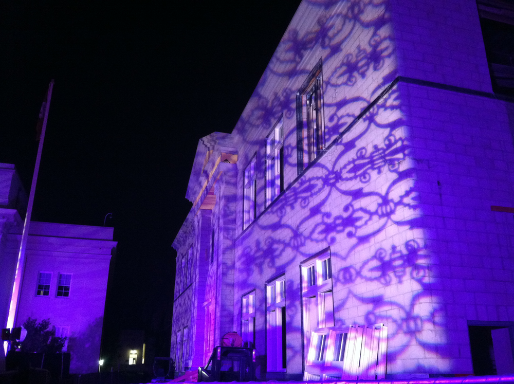 A brilliantly done texture gobo to make this building stand out
