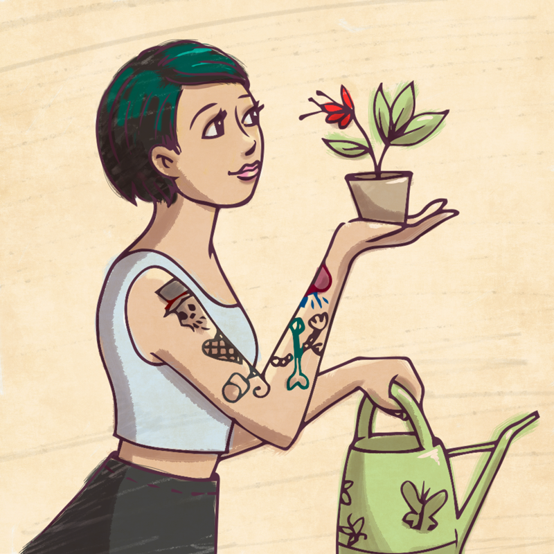 annie ruygt illustration character girl tattoos gardening