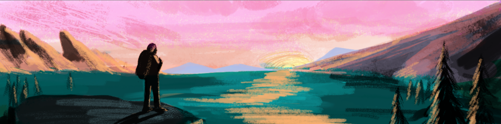 Color study- using multiply layers and an overlay layer in the sky.  I worked on top of the black and white comp to keep it simple.